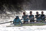 The Women's Boat Race season 2018 - fixture CUWBC vs. ULBC: The start to the second part of the race, here the CUWBC Eight with cox Sophie Shapter, stroke Tricia Smith, 7 Imogen Grant, 6 Anne Beenken, 5 Thea Zabell. River Thames between Putney Bridge and Mortlake, London SW15,  United Kingdom, on 17 February 2018 at 13:27, image #107