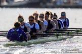 The Women's Boat Race season 2018 - fixture CUWBC vs. ULBC: The ULBC Eight - cox Lauren Holland, stroke Issy Powel, 7 Jordan Cole-Huissan, 6 Oonagh Cousins, 5 Hannah Roberts, 4 Katherine Barnhill, 3 Fionnuala Gannon, 2 Robyn Hart-Winks, bow Ally French. River Thames between Putney Bridge and Mortlake, London SW15,  United Kingdom, on 17 February 2018 at 13:27, image #109