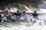 The Women's Boat Race season 2018 - fixture CUWBC vs. ULBC: The OUWBC Eight, here 4 Paula Wesselmann, 3 Alice White, 2 Myriam Goudet-Boukhatmi, bow Olivia Coffey. River Thames between Putney Bridge and Mortlake, London SW15,  United Kingdom, on 17 February 2018 at 13:27, image #110