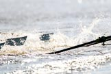The Women's Boat Race season 2018 - fixture CUWBC vs. ULBC: Race umpire Judith Packer was kept busy during the first phase of the second race - OUWBC and ULBC are getting a bit close. River Thames between Putney Bridge and Mortlake, London SW15,  United Kingdom, on 17 February 2018 at 13:28, image #115