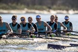 The Women's Boat Race season 2018 - fixture CUWBC vs. ULBC: Race umpire Judith Packer was kept busy during the first phase of the second race - OUWBC and ULBC are getting a bit close. River Thames between Putney Bridge and Mortlake, London SW15,  United Kingdom, on 17 February 2018 at 13:28, image #118