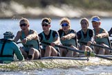 The Women's Boat Race season 2018 - fixture CUWBC vs. ULBC: The  CUWBC Eight, here cox Sophie Shapter, stroke Tricia Smith, 7 Imogen Grant, 6 Anne Beenken, 5 Thea Zabell, 4 Paula Wesselmann. River Thames between Putney Bridge and Mortlake, London SW15,  United Kingdom, on 17 February 2018 at 13:28, image #119