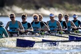 The Women's Boat Race season 2018 - fixture CUWBC vs. ULBC: The  CUWBC Eight, here cox Sophie Shapter, stroke Tricia Smith, 7 Imogen Grant, 6 Anne Beenken, 5 Thea Zabell, 4 Paula Wesselmann, 3 Alice White, 2 Myriam Goudet-Boukhatmi, bow Olivia Coffey. River Thames between Putney Bridge and Mortlake, London SW15,  United Kingdom, on 17 February 2018 at 13:28, image #120