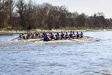 The Women's Boat Race season 2018 - fixture CUWBC vs. ULBC: OUWBC and ULBC during the early phase of the second race. River Thames between Putney Bridge and Mortlake, London SW15,  United Kingdom, on 17 February 2018 at 13:28, image #121