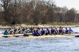 The Women's Boat Race season 2018 - fixture CUWBC vs. ULBC: OUWBC and ULBC during the early phase of the second race. River Thames between Putney Bridge and Mortlake, London SW15,  United Kingdom, on 17 February 2018 at 13:28, image #122