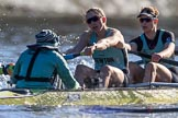 The Women's Boat Race season 2018 - fixture CUWBC vs. ULBC: The CUWBC Eight, here cox Sophie Shapter, stroke Tricia Smith, 7 Imogen Grant. River Thames between Putney Bridge and Mortlake, London SW15,  United Kingdom, on 17 February 2018 at 13:29, image #124
