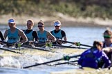 The Women's Boat Race season 2018 - fixture CUWBC vs. ULBC: OUWBC and ULBC during the early phase of the second race. River Thames between Putney Bridge and Mortlake, London SW15,  United Kingdom, on 17 February 2018 at 13:29, image #125