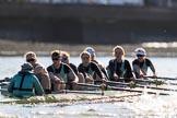 The Women's Boat Race season 2018 - fixture CUWBC vs. ULBC: The CUWBC Eight - cox Sophie Shapter, stroke Tricia Smith, 7 Imogen Grant, 6 Anne Beenken, 5 Thea Zabell, 4 Paula Wesselmann, 3 Alice White, 2 Myriam Goudet-Boukhatmi, bow Olivia Coffey. River Thames between Putney Bridge and Mortlake, London SW15,  United Kingdom, on 17 February 2018 at 13:30, image #132
