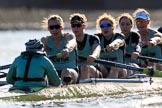 The Women's Boat Race season 2018 - fixture CUWBC vs. ULBC: The CUWBC Eight - here cox Sophie Shapter, stroke Tricia Smith, 7 Imogen Grant, 6 Anne Beenken, 5 Thea Zabell, 4 Paula Wesselmann. River Thames between Putney Bridge and Mortlake, London SW15,  United Kingdom, on 17 February 2018 at 13:30, image #133