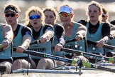 The Women's Boat Race season 2018 - fixture CUWBC vs. ULBC: The CUWBC Eight - here 7 Imogen Grant, 6 Anne Beenken, 5 Thea Zabell, 4 Paula Wesselmann, 3 Alice White, 2 Myriam Goudet-Boukhatmi. River Thames between Putney Bridge and Mortlake, London SW15,  United Kingdom, on 17 February 2018 at 13:30, image #136