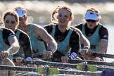 The Women's Boat Race season 2018 - fixture CUWBC vs. ULBC: The CUWBC Eight - here 5 Thea Zabell, 4 Paula Wesselmann, 3 Alice White, 2 Myriam Goudet-Boukhatmi, bow Olivia Coffey. River Thames between Putney Bridge and Mortlake, London SW15,  United Kingdom, on 17 February 2018 at 13:30, image #137