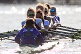 The Women's Boat Race season 2018 - fixture CUWBC vs. ULBC: The ULBC Eight - cox Lauren Holland, stroke Issy Powel, 7 Jordan Cole-Huissan, 6 Oonagh Cousins, 5 Hannah Roberts, 4 Katherine Barnhill, 3 Fionnuala Gannon, 2 Robyn Hart-Winks, bow Ally French. River Thames between Putney Bridge and Mortlake, London SW15,  United Kingdom, on 17 February 2018 at 13:30, image #138