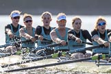 The Women's Boat Race season 2018 - fixture CUWBC vs. ULBC: The CUWBC Eight - here bow Ally French, 2 Robyn Hart-Winks, 3 Fionnuala Gannon, 4 Katherine Barnhill, 5 Hannah Roberts, 6 Oonagh Cousins. River Thames between Putney Bridge and Mortlake, London SW15,  United Kingdom, on 17 February 2018 at 13:31, image #141