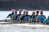 The Women's Boat Race season 2018 - fixture CUWBC vs. ULBC: The CUWBC Eight - here bow Ally French, 2 Robyn Hart-Winks, 3 Fionnuala Gannon, 4 Katherine Barnhill, 5 Hannah Roberts, 6 Oonagh Cousins, 7 Imogen Grant, stroke Tricia Smith, cox Sophie Shapter. River Thames between Putney Bridge and Mortlake, London SW15,  United Kingdom, on 17 February 2018 at 13:31, image #143