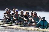 The Women's Boat Race season 2018 - fixture CUWBC vs. ULBC: The CUWBC Eight - here bow Ally French, 2 Robyn Hart-Winks, 3 Fionnuala Gannon, 4 Katherine Barnhill, 5 Hannah Roberts, 6 Oonagh Cousins, 7 Imogen Grant, stroke Tricia Smith, cox Sophie Shapter. River Thames between Putney Bridge and Mortlake, London SW15,  United Kingdom, on 17 February 2018 at 13:31, image #144