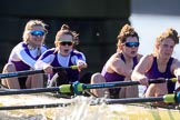 The Women's Boat Race season 2018 - fixture CUWBC vs. ULBC: The ULBC Eight - here bow Ally French, 2 Robyn Hart-Winks, 3 Fionnuala Gannon, 4 Katherine Barnhill. River Thames between Putney Bridge and Mortlake, London SW15,  United Kingdom, on 17 February 2018 at 13:31, image #146