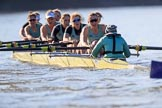 The Women's Boat Race season 2018 - fixture CUWBC vs. ULBC: The CUWBC Eight - here bow Ally French, 2 Robyn Hart-Winks, 3 Fionnuala Gannon, 4 Katherine Barnhill, 5 Hannah Roberts, 6 Oonagh Cousins, 7 Imogen Grant, stroke Tricia Smith, cox Sophie Shapter. River Thames between Putney Bridge and Mortlake, London SW15,  United Kingdom, on 17 February 2018 at 13:32, image #147