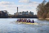 The Women's Boat Race season 2018 - fixture CUWBC vs. ULBC: CUWBC extending the lead over ULBC. River Thames between Putney Bridge and Mortlake, London SW15,  United Kingdom, on 17 February 2018 at 13:32, image #148