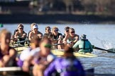 The Women's Boat Race season 2018 - fixture CUWBC vs. ULBC: ULBC and CUWBC - here, in the Cambridge  boat, bow Olivia Coffey, 2 Myriam Goudet-Boukhatmi, 3 Alice White, 4 Paula Wesselmann, 5 Thea Zabell, 6 Anne Beenken, 7 Imogen Grant, stroke Tricia Smith, cox Sophie Shapter. River Thames between Putney Bridge and Mortlake, London SW15,  United Kingdom, on 17 February 2018 at 13:33, image #153