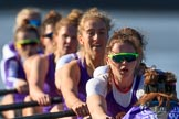 The Women's Boat Race season 2018 - fixture CUWBC vs. ULBC: Close-up of the ULBC Eight, in focus stroke Issy Powel. River Thames between Putney Bridge and Mortlake, London SW15,  United Kingdom, on 17 February 2018 at 13:33, image #156