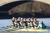 The Women's Boat Race season 2018 - fixture CUWBC vs. ULBC: The CUWBC Eight getting closer to the finish at Chiswick Bridge - bow Olivia Coffey, 2 Myriam Goudet-Boukhatmi, 3 Alice White, 4 Paula Wesselmann, 5 Thea Zabell, 6 Anne Beenken, 7 Imogen Grant, stroke Tricia Smith, cox Sophie Shapter. River Thames between Putney Bridge and Mortlake, London SW15,  United Kingdom, on 17 February 2018 at 13:34, image #157