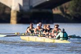The Women's Boat Race season 2018 - fixture CUWBC vs. ULBC: The CUWBC Eight getting closer to the finish at Chiswick Bridge - bow Olivia Coffey, 2 Myriam Goudet-Boukhatmi, 3 Alice White, 4 Paula Wesselmann, 5 Thea Zabell, 6 Anne Beenken, 7 Imogen Grant, stroke Tricia Smith, cox Sophie Shapter. River Thames between Putney Bridge and Mortlake, London SW15,  United Kingdom, on 17 February 2018 at 13:34, image #159
