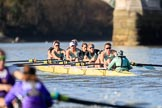 The Women's Boat Race season 2018 - fixture CUWBC vs. ULBC: Approaching the finish line, with CUWBC (right) leading again. River Thames between Putney Bridge and Mortlake, London SW15,  United Kingdom, on 17 February 2018 at 13:34, image #162