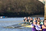 The Women's Boat Race season 2018 - fixture CUWBC vs. ULBC: ULBC and CUWBC - here, in the Cambridge  boat, bow Olivia Coffey, 2 Myriam Goudet-Boukhatmi, 3 Alice White, 4 Paula Wesselmann, 5 Thea Zabell, 6 Anne Beenken, 7 Imogen Grant, stroke Tricia Smith, cox Sophie Shapter. River Thames between Putney Bridge and Mortlake, London SW15,  United Kingdom, on 17 February 2018 at 13:35, image #165