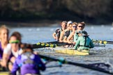 The Women's Boat Race season 2018 - fixture CUWBC vs. ULBC: ULBC and CUWBC - here, in the Cambridge  boat, just having crossed the finish line, bow Olivia Coffey, 2 Myriam Goudet-Boukhatmi, 3 Alice White, 4 Paula Wesselmann, 5 Thea Zabell, 6 Anne Beenken, 7 Imogen Grant, stroke Tricia Smith, cox Sophie Shapter. River Thames between Putney Bridge and Mortlake, London SW15,  United Kingdom, on 17 February 2018 at 13:35, image #170