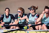 The Women's Boat Race season 2018 - fixture CUWBC vs. ULBC: OUWBC, the winner of both parts of the fixture - 5 Thea Zabell, 6 Anne Beenken, 7 Imogen Grant, stroke Tricia Smith. River Thames between Putney Bridge and Mortlake, London SW15,  United Kingdom, on 17 February 2018 at 13:36, image #181