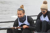 The Women's Boat Race season 2018 - fixture OUWBC vs. Molesey BC: Molesey's 6 seat Molly Harding and 5 Ruth Whyman. River Thames between Putney Bridge and Mortlake, London SW15,  United Kingdom, on 04 March 2018 at 13:09, image #16