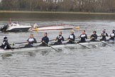 The Women's Boat Race season 2018 - fixture OUWBC vs. Molesey BC: The Molesey boat with cox Ella Taylor, stroke Katie Bartlett, 7 Emma McDonald, 6 Molly Harding, 5 Ruth Whyman, 4 Claire McKeown, 3 Gabby Rodriguez, 2 Lucy Primmer, bow Emma Boyns. River Thames between Putney Bridge and Mortlake, London SW15,  United Kingdom, on 04 March 2018 at 13:11, image #30