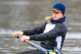 The Women's Boat Race season 2018 - fixture OUWBC vs. Molesey BC: Molesey's bow Emma Boyns. River Thames between Putney Bridge and Mortlake, London SW15,  United Kingdom, on 04 March 2018 at 13:34, image #33
