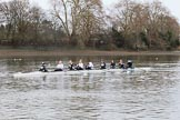 The Women's Boat Race season 2018 - fixture OUWBC vs. Molesey BC: The Molesey crew getting ready for the race: Cox Ella Taylor, stroke Katie Bartlett, 7 Emma McDonald, 6 Molly Harding, 5 Ruth Whyman, 4 Claire McKeown, 3 Gabby Rodriguez, 2 Lucy Primmer, bow Emma Boyns. River Thames between Putney Bridge and Mortlake, London SW15,  United Kingdom, on 04 March 2018 at 13:35, image #37