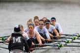 The Women's Boat Race season 2018 - fixture OUWBC vs. Molesey BC: Molesey rowing to the start at Putney Bridge: Cox Ella Taylor, stroke Katie Bartlett, 7 Emma McDonald, 6 Molly Harding, 5 Ruth Whyman, 4 Claire McKeown, 3 Gabby Rodriguez, 2 Lucy Primmer, bow Emma Boyns. River Thames between Putney Bridge and Mortlake, London SW15,  United Kingdom, on 04 March 2018 at 13:43, image #41