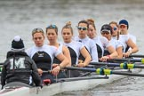 The Women's Boat Race season 2018 - fixture OUWBC vs. Molesey BC: Molesey rowing to the start at Putney Bridge: Cox Ella Taylor, stroke Katie Bartlett, 7 Emma McDonald, 6 Molly Harding, 5 Ruth Whyman, 4 Claire McKeown, 3 Gabby Rodriguez, 2 Lucy Primmer, bow Emma Boyns. River Thames between Putney Bridge and Mortlake, London SW15,  United Kingdom, on 04 March 2018 at 13:43, image #42