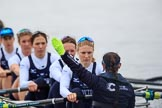 The Women's Boat Race season 2018 - fixture OUWBC vs. Molesey BC: OUWBC not quite ready yet for the start of the race: 4 Alice Roberts, 5 Morgan McGovern, 6 Sara Kushma, 7 Abigail Killen, stroke Beth Bridgman, cox Jessica Buck. River Thames between Putney Bridge and Mortlake, London SW15,  United Kingdom, on 04 March 2018 at 13:44, image #46