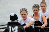 The Women's Boat Race season 2018 - fixture OUWBC vs. Molesey BC: Molesey ready for the race to be started: Cox Ella Taylor, stroke Katie Bartlett, 7 Emma McDonald, 6 Molly Harding. River Thames between Putney Bridge and Mortlake, London SW15,  United Kingdom, on 04 March 2018 at 13:44, image #47