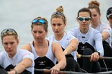 The Women's Boat Race season 2018 - fixture OUWBC vs. Molesey BC: Molesey ready for the race to be started: Stroke Katie Bartlett, 7 Emma McDonald, 6 Molly Harding, 5 Ruth Whyman, 4 Claire McKeown. River Thames between Putney Bridge and Mortlake, London SW15,  United Kingdom, on 04 March 2018 at 13:44, image #48