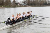 The Women's Boat Race season 2018 - fixture OUWBC vs. Molesey BC: Molesey, here in the first minutes of the race: Cox Ella Taylor, stroke Katie Bartlett, 7 Emma McDonald, 6 Molly Harding, 5 Ruth Whyman, 4 Claire McKeown, 3 Gabby Rodriguez, 2 Lucy Primmer, bow Emma Boyns. River Thames between Putney Bridge and Mortlake, London SW15,  United Kingdom, on 04 March 2018 at 13:46, image #58