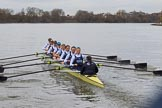The Women's Boat Race season 2018 - fixture OUWBC vs. Molesey BC: OUWBC are pulling away from Molesey: Bow Renée Koolschijn, 2 Katherine Erickson, 3 Juliette Perry, 4 Alice Roberts, 5 Morgan McGovern, 6 Sara Kushma, 7 Abigail Killen, stroke Beth Bridgman, cox Jessica Buck. River Thames between Putney Bridge and Mortlake, London SW15,  United Kingdom, on 04 March 2018 at 13:46, image #59