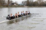 The Women's Boat Race season 2018 - fixture OUWBC vs. Molesey BC: Molesey falling a bit behind: Cox Ella Taylor, stroke Katie Bartlett, 7 Emma McDonald, 6 Molly Harding, 5 Ruth Whyman, 4 Claire McKeown, 3 Gabby Rodriguez, 2 Lucy Primmer, bow Emma Boyns. River Thames between Putney Bridge and Mortlake, London SW15,  United Kingdom, on 04 March 2018 at 13:46, image #61