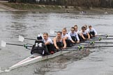 The Women's Boat Race season 2018 - fixture OUWBC vs. Molesey BC: Molesey falling a bit behind: Cox Ella Taylor, stroke Katie Bartlett, 7 Emma McDonald, 6 Molly Harding, 5 Ruth Whyman, 4 Claire McKeown, 3 Gabby Rodriguez, 2 Lucy Primmer, bow Emma Boyns. River Thames between Putney Bridge and Mortlake, London SW15,  United Kingdom, on 04 March 2018 at 13:47, image #62