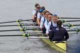 The Women's Boat Race season 2018 - fixture OUWBC vs. Molesey BC: OUWBC extending their lead: Bow Renée Koolschijn, 2 Katherine Erickson, 3 Juliette Perry, 4 Alice Roberts, 5 Morgan McGovern, 6 Sara Kushma, 7 Abigail Killen, stroke Beth Bridgman, cox Jessica Buck. River Thames between Putney Bridge and Mortlake, London SW15,  United Kingdom, on 04 March 2018 at 13:47, image #63
