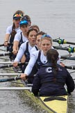 The Women's Boat Race season 2018 - fixture OUWBC vs. Molesey BC: OUWBC extending their lead: Bow Renée Koolschijn, 2 Katherine Erickson, 3 Juliette Perry, 4 Alice Roberts, 5 Morgan McGovern, 6 Sara Kushma, 7 Abigail Killen, stroke Beth Bridgman, cox Jessica Buck. River Thames between Putney Bridge and Mortlake, London SW15,  United Kingdom, on 04 March 2018 at 13:47, image #64