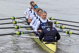 The Women's Boat Race season 2018 - fixture OUWBC vs. Molesey BC: OUWBC: Bow Renée Koolschijn, 2 Katherine Erickson, 3 Juliette Perry, 4 Alice Roberts, 5 Morgan McGovern, 6 Sara Kushma, 7 Abigail Killen, stroke Beth Bridgman, cox Jessica Buck. River Thames between Putney Bridge and Mortlake, London SW15,  United Kingdom, on 04 March 2018 at 13:47, image #66