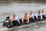 The Women's Boat Race season 2018 - fixture OUWBC vs. Molesey BC: The Molesey boat: Cox Ella Taylor, stroke Katie Bartlett, 7 Emma McDonald, 6 Molly Harding, 5 Ruth Whyman, 4 Claire McKeown. River Thames between Putney Bridge and Mortlake, London SW15,  United Kingdom, on 04 March 2018 at 13:48, image #67