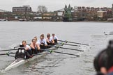 The Women's Boat Race season 2018 - fixture OUWBC vs. Molesey BC: Molesey has fallen behind on the approach to Hammersmith Bridge. River Thames between Putney Bridge and Mortlake, London SW15,  United Kingdom, on 04 March 2018 at 13:50, image #81