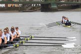 The Women's Boat Race season 2018 - fixture OUWBC vs. Molesey BC: Molesey has fallen behind on the approach to Hammersmith Bridge. River Thames between Putney Bridge and Mortlake, London SW15,  United Kingdom, on 04 March 2018 at 13:50, image #82