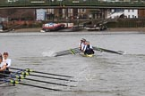 The Women's Boat Race season 2018 - fixture OUWBC vs. Molesey BC: Molesey has fallen behind on the approach to Hammersmith Bridge. River Thames between Putney Bridge and Mortlake, London SW15,  United Kingdom, on 04 March 2018 at 13:51, image #83